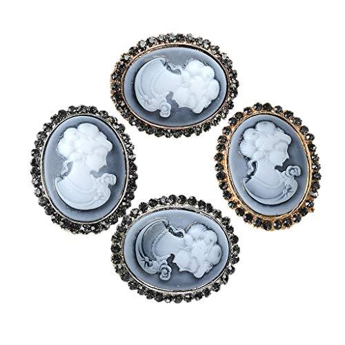 Sharplace 4 Stück Vintage Oval Strass Knöpfe Perlen Flatback Verzierung Charms Beads DIY Deko
