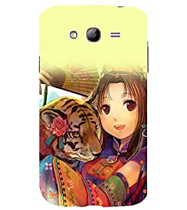 printtech Anime Cute Beautiful Girl Tiger Back Case Cover for Samsung Galaxy Grand i9080 / Samsung Galaxy Grand i9082