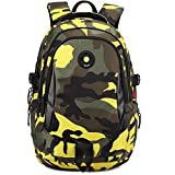 Comfysail Camouflage Printed Primary School Nylon Backpack - Ideal for 1-6 Grade School Students Boys Girls Daily Use and Outdoor Activities (Large, Yellow)