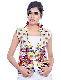 Banjara India Women's Jacket (MJK-CHK02_White_Free)
