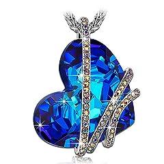 Idea Regalo - PAULINE & MORGEN goccia di Venere Collana donna cristalli da SWAROVSKI blu colore oro bianco regalo compleanno san valentino natale festa della mamma anniversario per moglie madre gioielli