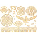 JewelryWe Temporäre Metallic Tattoos, Bling Your Body mit Flash Metallic Tattoos Gold Schmuck Tattoo für Körper Finger Arme, Modelle B