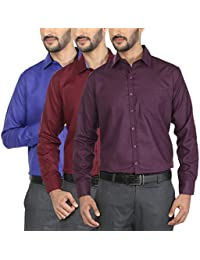 Mark Pollo Cotton Rich Fabric With Linen Look Slim Fit Formal And Semi Formal Combo Of 3 Shirts For Men (Dark...