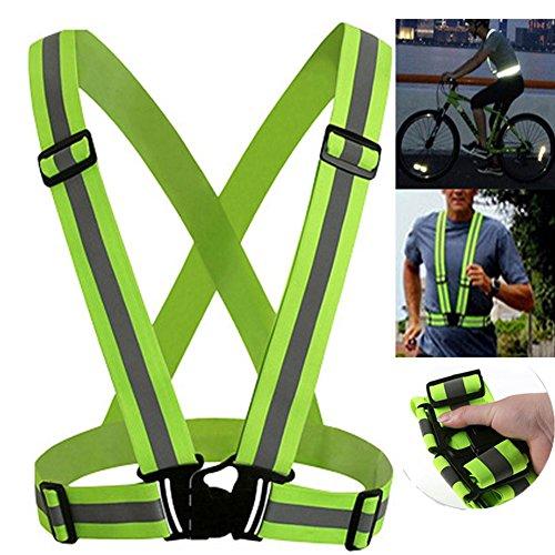Yiwa Reflektierende Weste Sicherheit Fahren Bei Nacht Weste Einstellbar Hohe Sichtbarkeit Fahrrad Reflektierende Elastic Weste für Radfahren Laufen Joggen Walking -