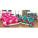 Furnishing Kingdom Super Home Grace Cotton Combo Set Of 2 King Size Double Bedsheet With 4 Pillow Covers - Multicolor
