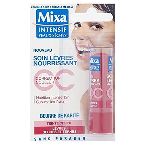 Mixa Intensif Peaux Sèches - Soin des Lèvres Nourrissant CC au Beurre de Karité Teinte Cerise - 4.7 ml - Lot de 3
