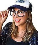 EL CARNAVAL Divertidas Gafas Negras con patilla Lila sin Cristal