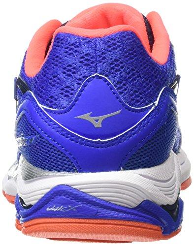 Mizuno Wave Inspire 12, Chaussures de Running Compétition Femme Bleu (Dazzling Blue/Silver/Fiery Coral)