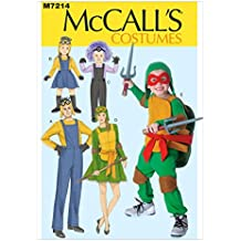 McCalls familia patrón de costura para 7214 de las Tortugas Ninja y e instrucciones para coser disfraces de minion de Minerva Crafts Craft guía incluye+