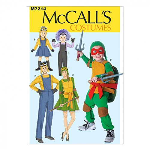McCall 's Familie Schnittmuster 7214 Ninja Turtles & Minions Kostüme + Gratis Minerva Crafts Craft Guide