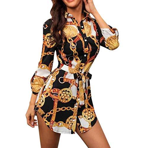 LILIHOT Frauen Lange Hülsen Ketten Druck Hemd Kleid Damen beiläufiges Minikleid Strandkleid Abendkleid Langarmkleid Partykleid Blumenmuster Halloween Hochzeitskleid Freizeitkleidung