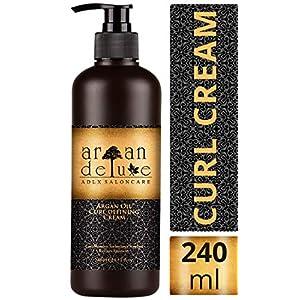 Crema de aceite de argán definidora de rizos con acabado de peluquería Argan Deluxe, 240ml– Altamente hidratante, para un cuidado intensivo del cabello, aportando brillo, volumen y elasticidad