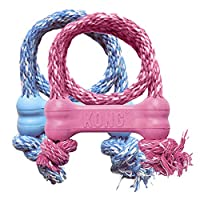 KONG - Puppy Goodie Bone with Rope - Teething Rubber, Teeth Cleaning Dog Toy - for Extra Small Puppies (Assorted Colors)
