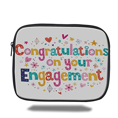 Tablet Bag for Ipad air 2/3/4/mini 9.7 inch,Engagement Party Decorations,Festive Congratulations Theme Hearts Spots Floral Detail Print,Multicolor,Bag - Floral Spot