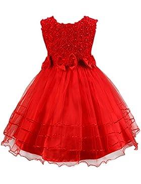 SMITHROAD Kinder Prinzessin Blumenkind Kleider Blumenmädchen Festliches Kleid Tüll mit Blumen und Schleife 3 Farben