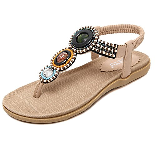 Minetom Sommer Damen Mode Flach Flip Flops Bohemia Zehentrenner Hefterzufuhr Flats Thong Strand Sandalen Beige EU 39 (Thong Beige)