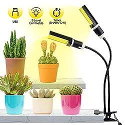 Qomolo LED Pflanzenlampe Innen Pflanzenlicht mit Automatische Zeitschaltuhr Dimmbar 8 Lichtstärken für Zimmerpflanzen Gemüse und Blumen