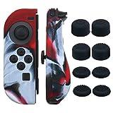 Pandaren® Handgriff Silikon Abdeckung Haut Hülle Anti-Rutsch für Nintendo Switch Controller x 2 (Tarnung Rot) Mit FPS PRO Daumen Griffe aufsätze x 8