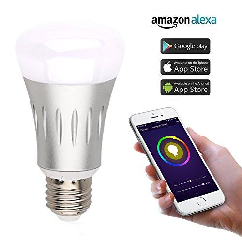 Melostern E27 LED Lampe Erweiterung, dimmbar, warmweißes Licht, steuerbar via App, Kompatibel mit Alexa (Echo, Echo Dot) [Energieklasse A++] (1 PCS)