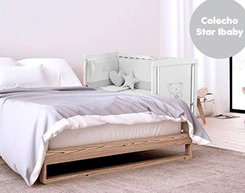 Cuna Colecho Star Ibaby. Multiples posiciones de Somier para adaptarla a cualquier cama. Lateral abatible. + Colchón Viscoelastica optimo para el sueño del Bebé.