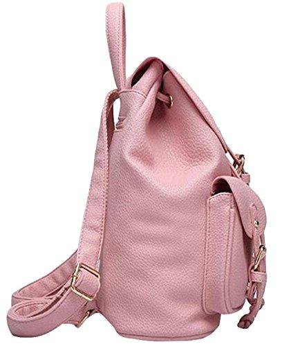 PU Gewaschenes Leder Schultertasche Handtasche Rucksack College Wind Urlaubsreisen Rucksack Tasche Red