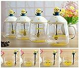 #4: SK-tm minion transparent mug with ceramic lid and spoon -gift for brother/rakhi gift/rakshabandhan gift idea/gift for sister /gift for any occasion/gift for friend 350 ml (1 pc) RANDOM DESIGN-400 ml