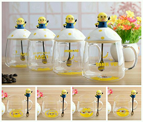 SK-tm minion transparent mug with ceramic lid and spoon -gift for brother/rakhi gift/rakshabandhan gift idea/gift for sister /gift for any occasion/gift for friend 350 ml (1 pc) RANDOM DESIGN-400 ml