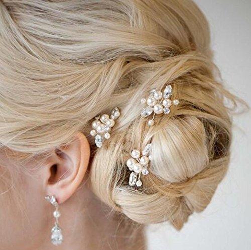 aukmla Brautschmuck Haarnadeln für Frauen auf Hochzeit und Party (3Stück) (Gold) (Juwel Auf Der Krone)