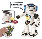 Lexibook Powerman - Lern-Roboter Zum Lernen und Spielen, Interaktiver, Tanzt, Musiziert, Lernquiz, Erzählt Geschichten, Wirft Discs, Schwarz/Weiß, ROB50DE (Deutsche Version)