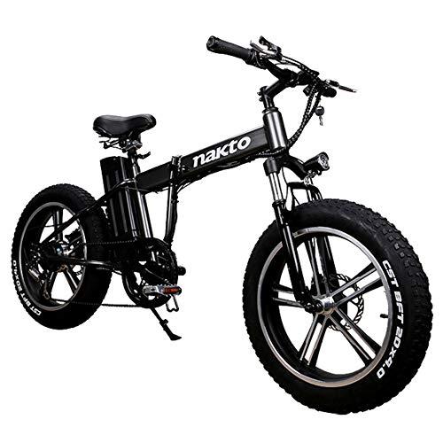 MERRYHE Bicicleta De Montaña Eléctrica De 20 Pulgadas 350W 48V 10Ah Extraíble Li-Battery Plegado 26 * 4.0 Fat Tire Road...