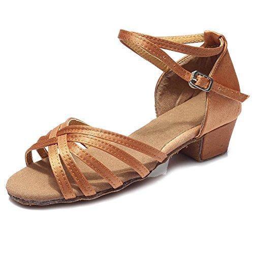 HROYL Schuhe M盲dchen Braun Dance DS Modell Latin Satin Tanzschuhe 202 Ballsaal IRBrdxanBq