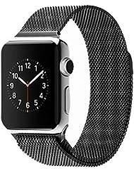 Spritech (TM) Elegancia Repuesto, Acero inoxidable de la pulsera Milanese Loop Estilo Accesorios Barcelet para Apple Watch, color negro