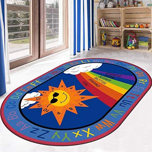 HSRG Rug Kindergartenteppich Kinderspiel- und Lernteppich Lernteppich mit Buchstabenfarbe, Form und Zahlengröße, oval,100x160cm