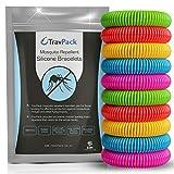 TravPack Premium Bracelets Anti-moustiques (x10)-Garder Les moustiques à Now. marché Leader Anti-Insectes, scientifiquement conçu avec 250Heures Utilisation par Bracelet.