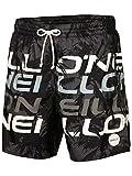 O'Neill Herren Stacked Shorts Bademode Badeshorts, Black AOP W/White, XXL