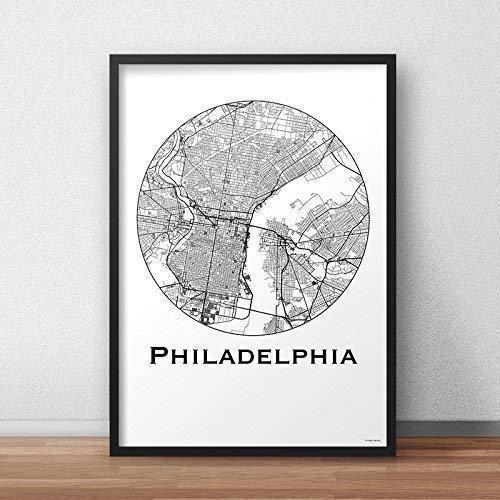 Affiche Philadelphie USA Minimalist Map - City Map, Poster de Philadelphia, Plan de ville, Création originale handmade