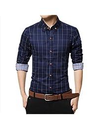 c7b3e8affd8 Men Pure Cotton Shirt Mercerized Slim Fit Long Sleeve Plaid Business  Checked Casual Dress Turn-