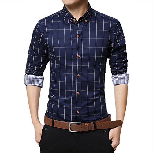 Zicac Mens Mercerized Slim Fit Long Sleeve Pure Cotton Plaid Shirt Business Checked Casual Dress Turn-down Collar Button Down Suit British Stylish