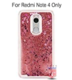 KC Liquid Flowing 3D Bling Glitter Star Transparent Soft Back Cover for Xiaomi Redmi Note 4 - Rose Gold