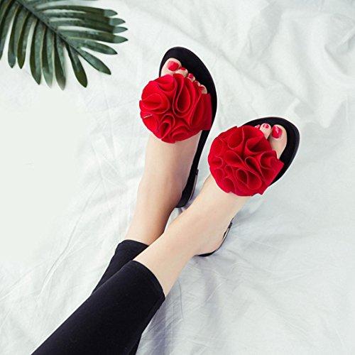 Blume flachen Sandale Sandalen rutschfeste Rot Hausschuhe Schuhe Sommerstrand Frauen Hunpta qIwxZnOUt