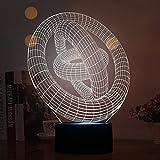 3D Magic Tischleuchte, 7 Farben verwandeln Smart Touch Schalter Nachtlicht mit USB-Schnittstelle optische Illusion Lampe kreative Schlafzimmer Nachttisch Lampe