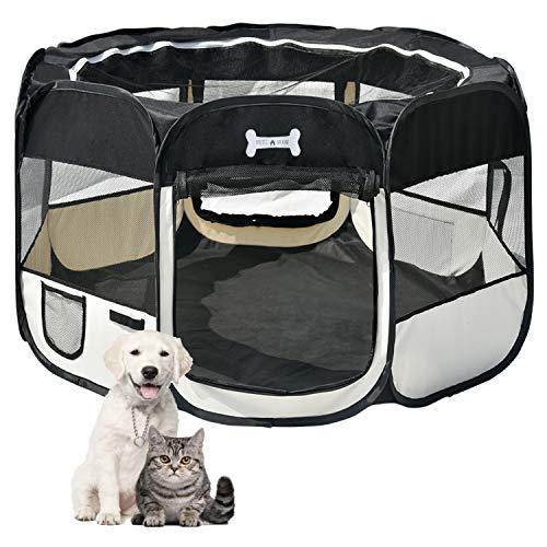 Mcdear Faltbarer Welpenlaufstall Oxford Tier Laufstall für Hunde Katzen Hasen Kleintiere Schwarz