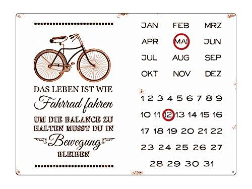INTERLUXE WANDKALENDER Blechschild Kalender DAS LEBEN IST WIE FAHRRAD FAHREN Shabby Vintage Geschenk Dekoration Haus Wohnung