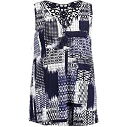 MS Mode Damen, Top mit Allover-Print, EU XXL