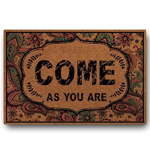 MWCOKF Fußmatte/Fußmatte/Fußmatte, Rutschfest, maschinenwaschbar, für Innen- und Außentüren, für Zuhause/Büro, 59,9 x 39,9 cm Come As You Are -