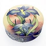 Old Tupton Ware - Iris Design, lidded round trinket box, 12cm