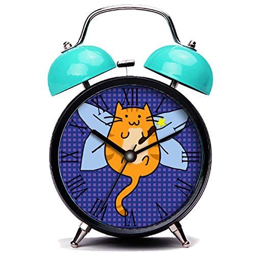 girlsight Blauer Wecker, Nette Katze Süße Halloween Katze Fee Kostüm Twin Bell Wecker mit Nachtlicht