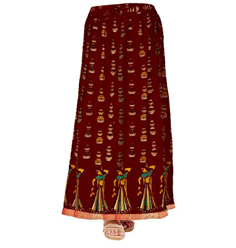 Kurti Studio Women Maroon Premium Long Skirt  available at amazon for Rs.349