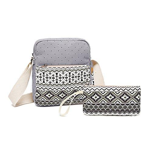 YSBER scuola della tela di canapa borse casual Carino leggero Teenager ragazze Pois spalla di caso Bag + matita(Gray)