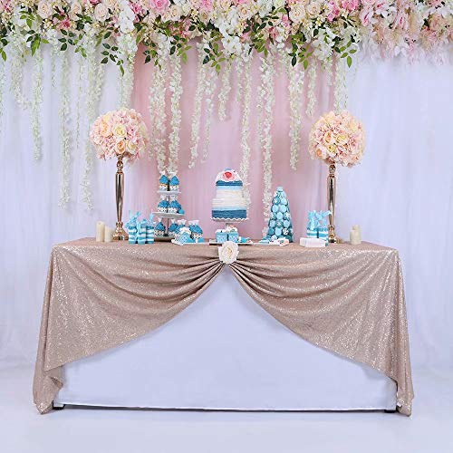 Trlyc 125x215cm Pailletten Tischdecke Rechteckig Glänzend Elegant Glitter Verschiedene Farben - Champagner